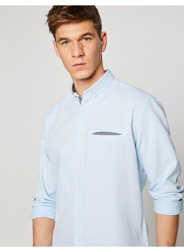 Koton Uzun Kollu Gömlek Mavi